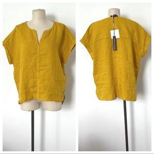 NWT Tahari mustard yellow boxy linen top L large